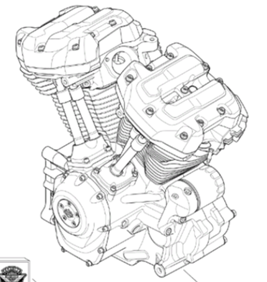 Picture of 114 Milwaukee-eight engine assembly in black finish